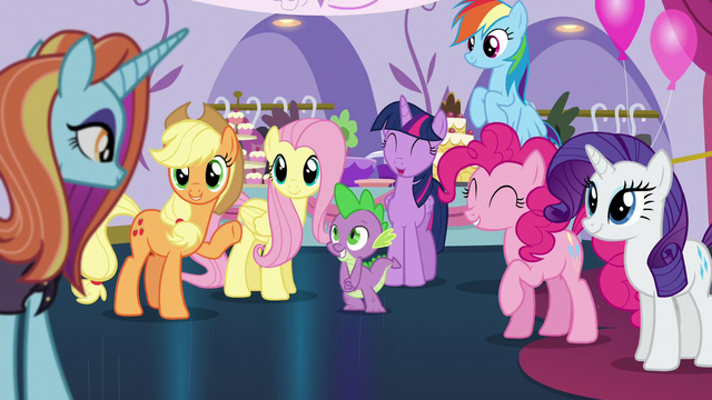 File:Rarity's friends greet Sassy Saddles S5E14.png