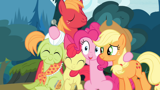 File:The Apples and Pinkie together S4E09.png
