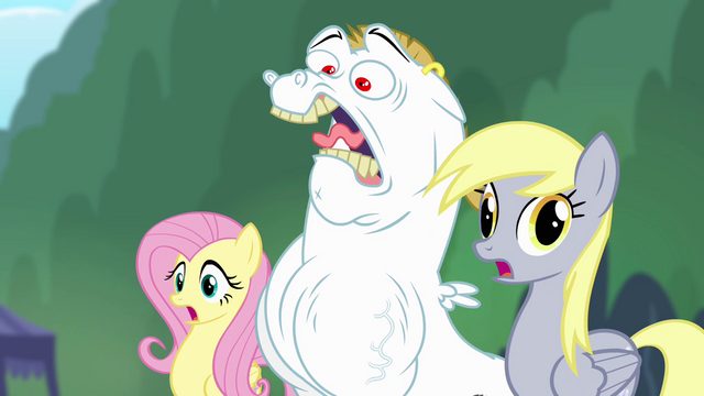 File:Fluttershy, Bulk, and Derpy shocked S4E10.png