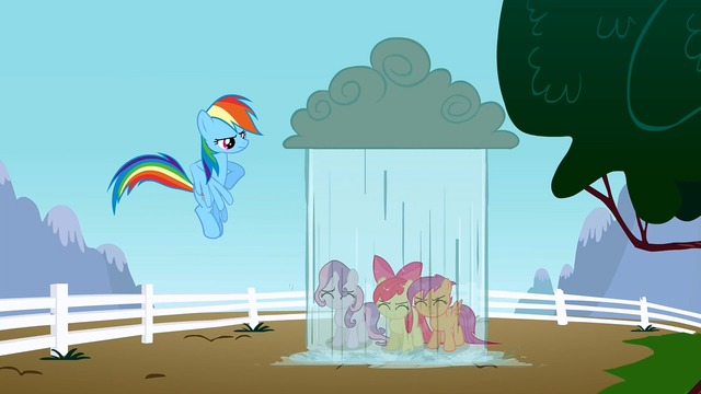 File:Rainbow Dash dropping rain on the CMC S2E23.png