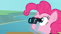 Pinkie Pie takes a picture of the eagle catching the fish S4E09
