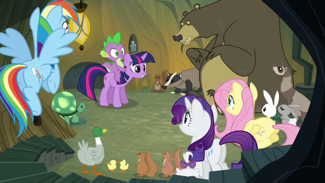 File:Main ponies no Pinkie with animals S3E3.png