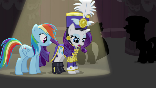 File:Rarity talking about the uniform she's wearing S4E21.png