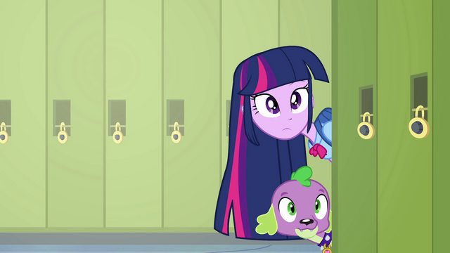 File:Twilight and Spike poking their heads around a corner EG.png