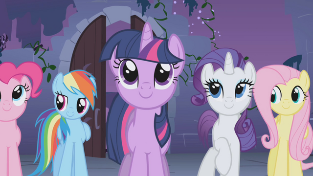 File:Twilight and friends looking at the Elements S1E02.png