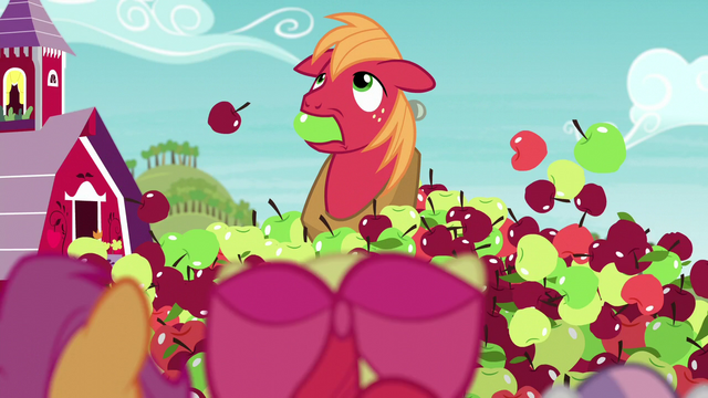 File:Big Mac pops out of the hill of apples with a green apple in his mouth S6E4.png