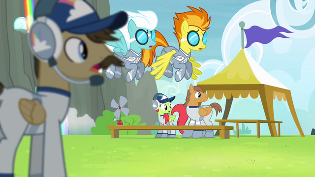 File:Cloudsdale team looking at Rainbow Dash S4E10.png