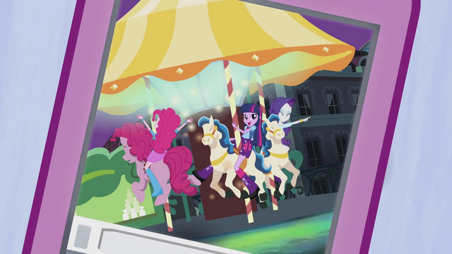 File:Twilight, Pinkie, and Rarity on the carousel EG2.png