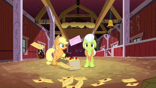 File:Applejack looking at Granny Smith in worry S3E8.png