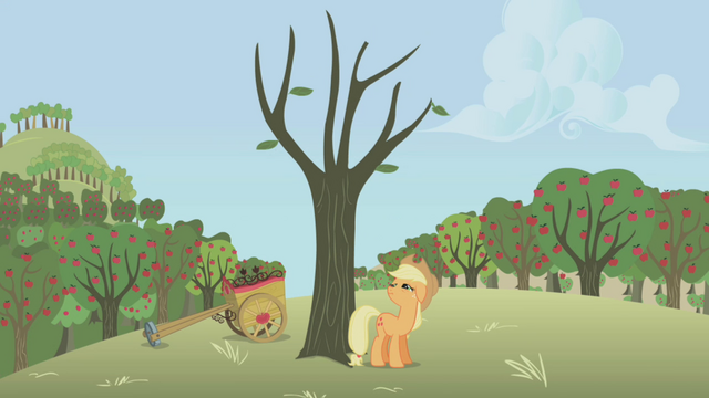 File:Applejack hitting a dead tree S01E04.png