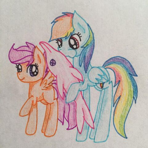 File:FANMADE Scootaloo and Rainbow Dash with Dolphin balloon.jpg