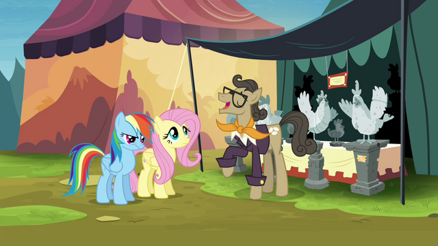File:Fluttershy and RD meet antique chicken trader S4E22.png