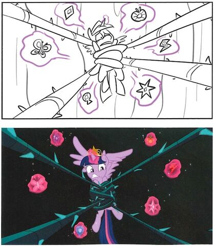 File:Art of Equestria page 187 - S4E2 storyboard and final scene.jpg
