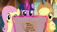 Twilight, Fluttershy, and AJ look at birth certificate S5E19