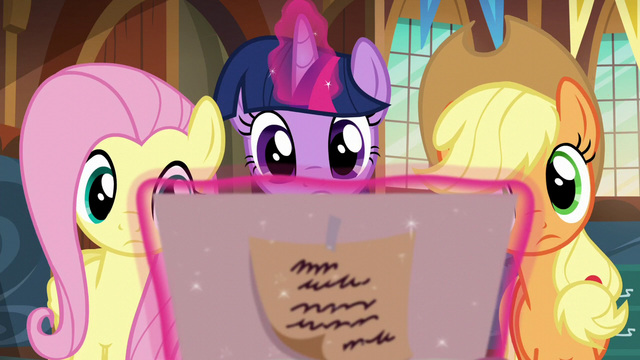 File:Twilight, Fluttershy, and AJ look at birth certificate S5E19.png