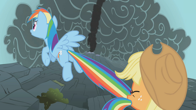 File:Applejack holds Rainbow back by the tail S1E07.png