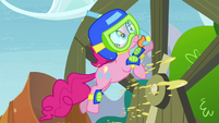 Pinkie Pie sliding out of tunnel S4E18