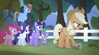 Applejack steps on a rotten apple S4E07