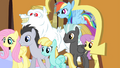 Ponyville teams getting off the train S4E24.png
