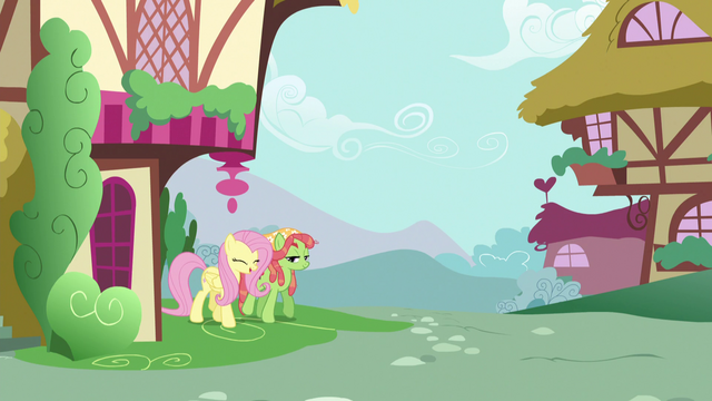 File:Fluttershy and Tree Hugger walking together S5E7.png