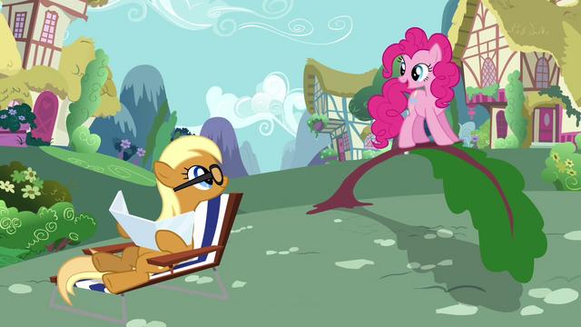 File:Sunbathing Apple Cobbler helped by Pinkie Pie S2E18.png