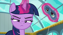Twilight Sparkle scowling at Sky Stinger S6E24
