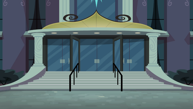 File:Canterlot High School exterior evening.png