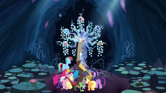 File:Discord transports Mane 6 and Spike to the Tree of Harmony S4E25.png