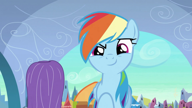 File:Rainbow succeeded scaring the ponies off S3E2.png