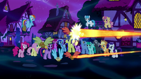 Flying muffins being zapped with magic S5E13