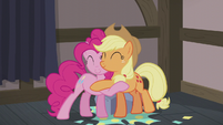 Applejack and Pinkie Pie warm hug S5E20