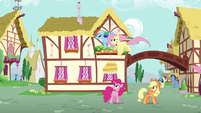Fluttershy and Dash fly over Pinkie and Applejack S6E11