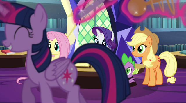 File:Twilight trots past the rest of her friends EG2.png