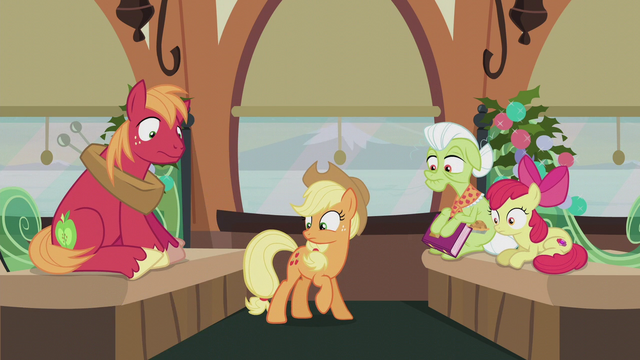 File:Applejack looking at her present S5E20.png
