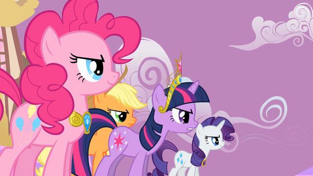 File:Applejack Twilight Sparkle Rarity Pinkie Pie Speech2 S2E2.png