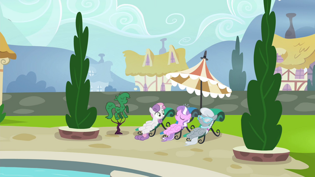File:Sweetie Belle, Diamond Tiara, and Silver Spoon poolside S4E15.png