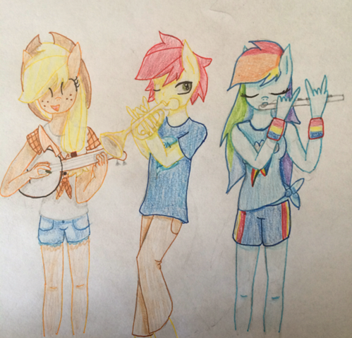 File:FANMADE Anthro Applejack, Rainbow Dash, and Crimson Azure.png