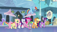 Mane 6 and Spike walk through the Empire S4E25