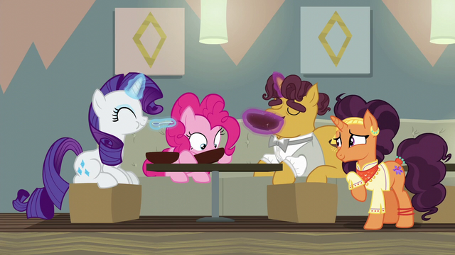 File:Rarity, Pinkie, and Coriander eating Saffron's soup S6E12.png