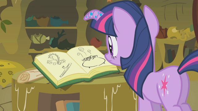 File:Twilight looking at Zecora's book S1E09.png