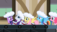 5 main ponies lining up to work in the cherry factory S2E14