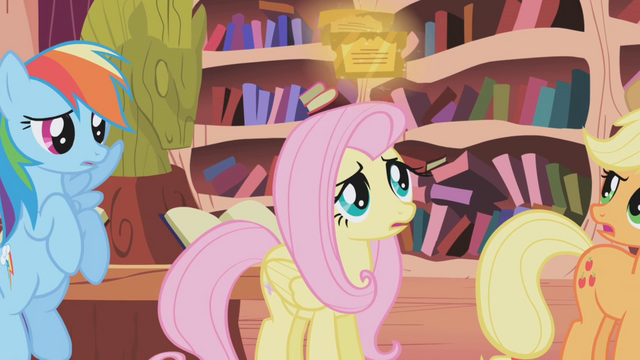 File:Fluttershy looking at the tickets S01E03.png