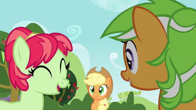 File:Applejack looking at the two mares S3E08.png