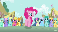 Pinkie Pie marching with crowd S2E18