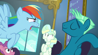 Rainbow Dash asks for Sky Stinger's name S6E24