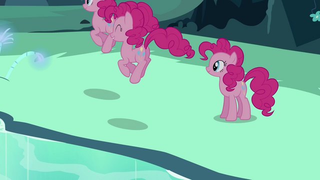 File:Pinkie Pie sees her clones hopping around S3E03.png