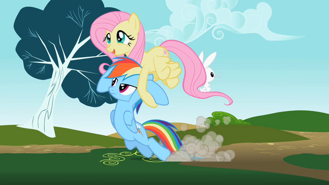 File:Rainbow Dash being dragged by Fluttershy S2E07.png