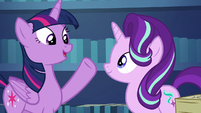 Twilight mentions Shining Armor and Cadance's baby S6E1
