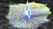 Crystal Empire surrounded by King Sombra S3E2