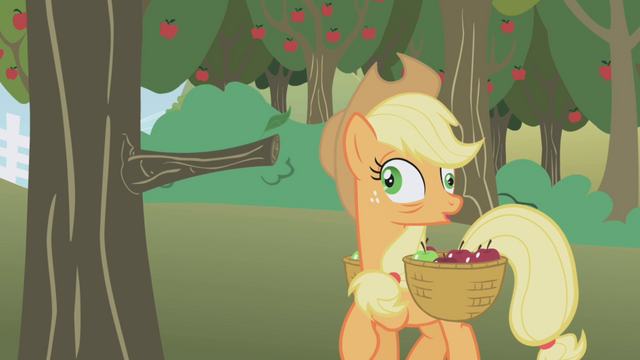 File:Applejack after bumping into the tree with crossed eyes S1E04.png